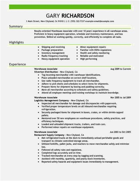 entry level warehouse associate resume 28 images
