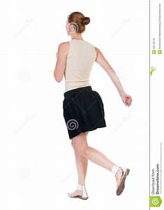 Back View Of Running Woman In Dress Stock Photo - Image ...