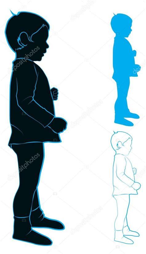 Siluetas De Niños De Perfil Silueta De Un Niño — Vector
