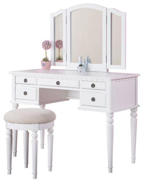 tri folding mirror make up table vanity set wood w stool