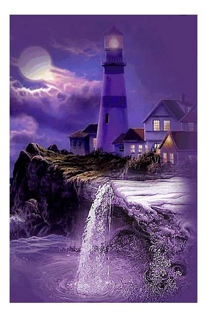 Lighthouse Gifs Imagens Google Scenery Moon Waterfall