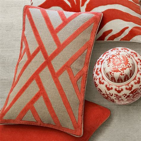Applique On Line by Line Pattern Velvet Applique Lumbar Pillow Cover Coral