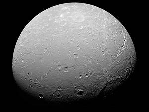 APOD: 2007 August 1- Unusual Cratering on Saturns Dione