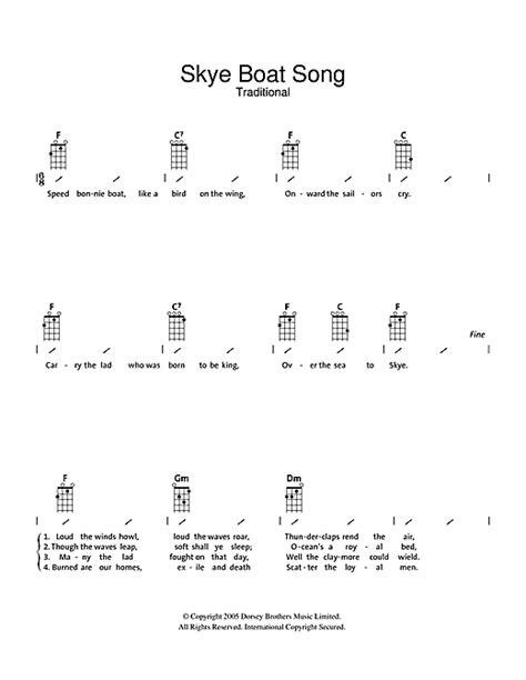 Skye Boat Song Letra Espa Ol by The Skye Boat Song Sheet Music By Traditional Ukulele