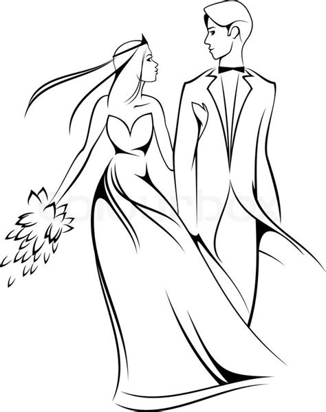 bride  groom isolated  white  stock vector