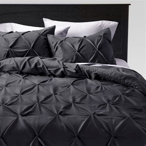 gray pinched pleat comforter king 3pc threshold