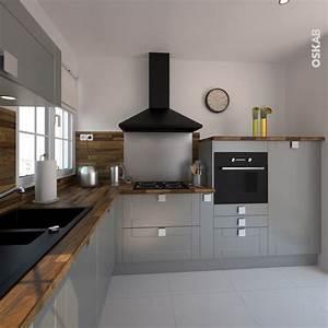 cuisine equipee grise bois moderne filipen gris mat gris With cuisine grise avec plan de travail noir