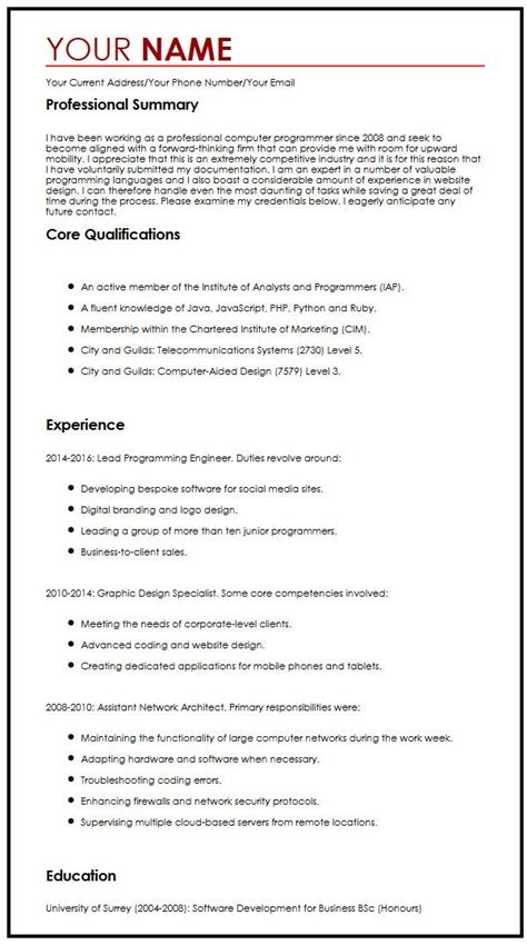 How To Write A Cv For A Application by Cv Exle For A Summer Myperfectcv