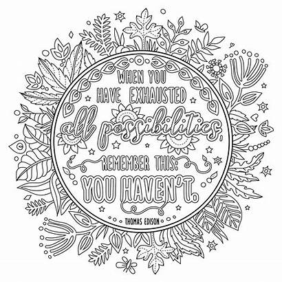 Coloring Pages Quotes Inspirational Printable Adults Motivational