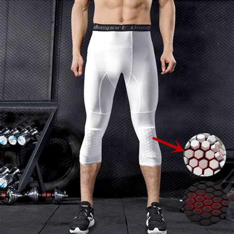 honeycomb padded compression pants gym leggings men