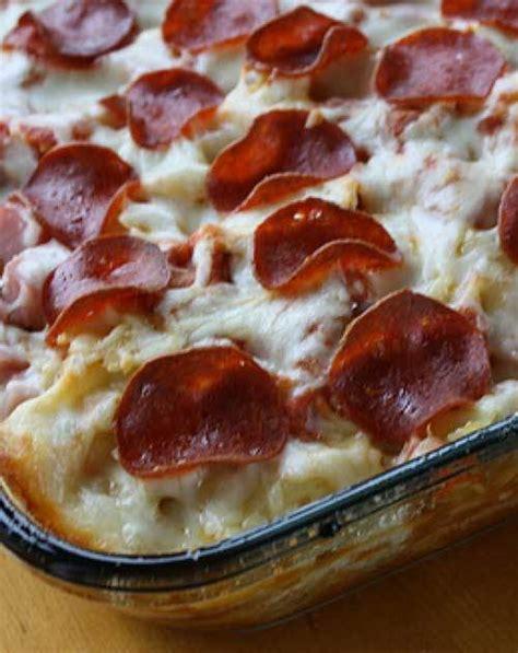 meat pizza casserole recipe flavorite
