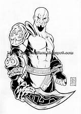 Kratos Coloring Lzk Mortal Combat Sword Credit Larger sketch template