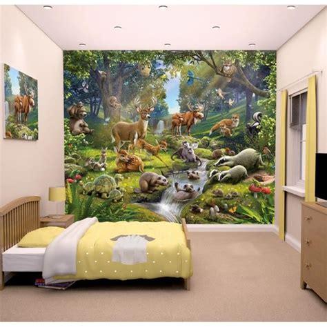 peinture chambre fille 10 ans papier peint enfant fresque murale décorative animaux de