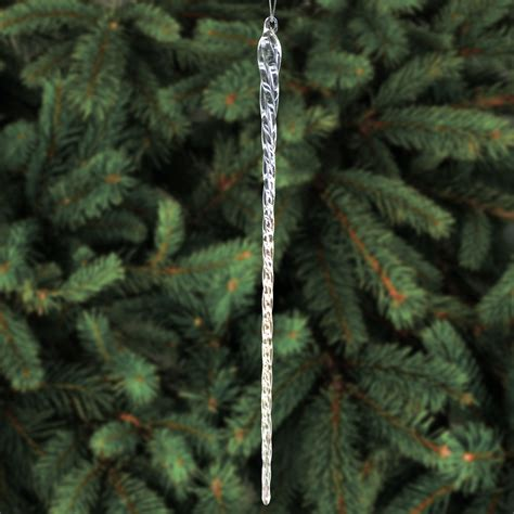 Tree Decorations Icicles - 14 inch clear glass icicle ornaments tree