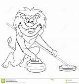 Curling Cartoon Lion Coloring Isolated Dessin Fumetto Clip Children Beeldverhaal Krullen Bianco Foer Clipart Retro Graphiques Anime Illustrationen Illustrations Illustrationer sketch template