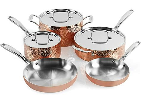 hot  reg  cuisinart  piece hammered copper cookware set