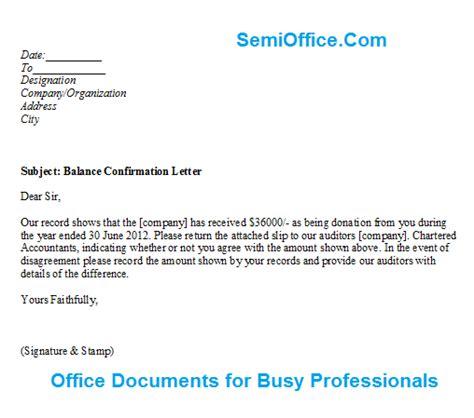 balance confirmation letter format