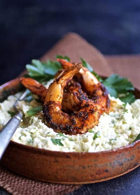 cauliflower grits  gouda cheese  blackened shrimp