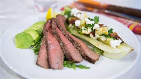 cuisine valentin bone in rib eye steak with arugula and avocado today com