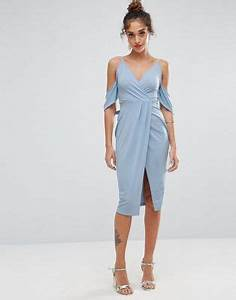 asos asos crepe wrap front bardot midi dress With robe cache coeur fluide