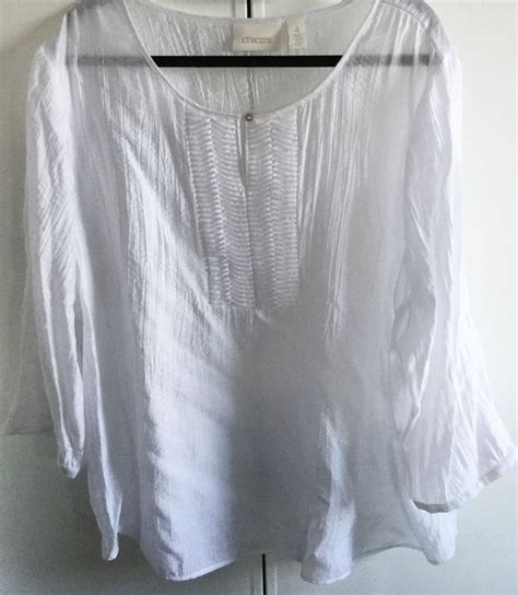 chicos white blouse chicos sz 4 white tunic cover up blouse 3 4 sleeves