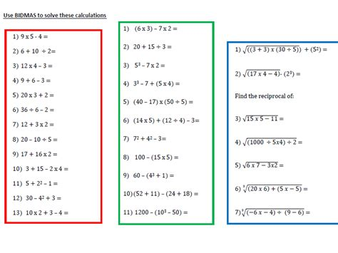 2 bidmas worksheets for year 6 students by resources by