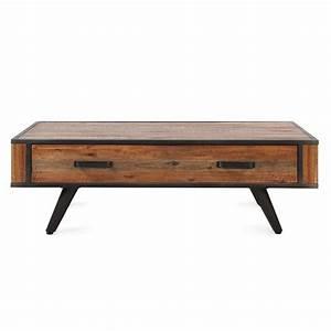 Table Basse Bois Industriel : table basse style industriel bois et m tal avec tiroir cusco zago store ~ Teatrodelosmanantiales.com Idées de Décoration