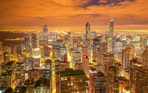 chicago night city view wallpaper