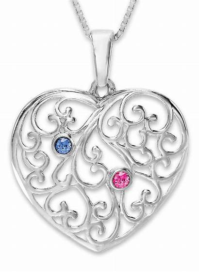 Birthstone Necklace Heart Silver Sterling Mother Mothers