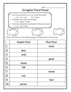 irregular plural nouns worksheet irregular plurals worksheet plural nouns
