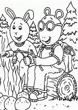 Coloring Camping Pages Printable Arthur Sheets Read Buster Baxter Fun Characters Coloringsun sketch template