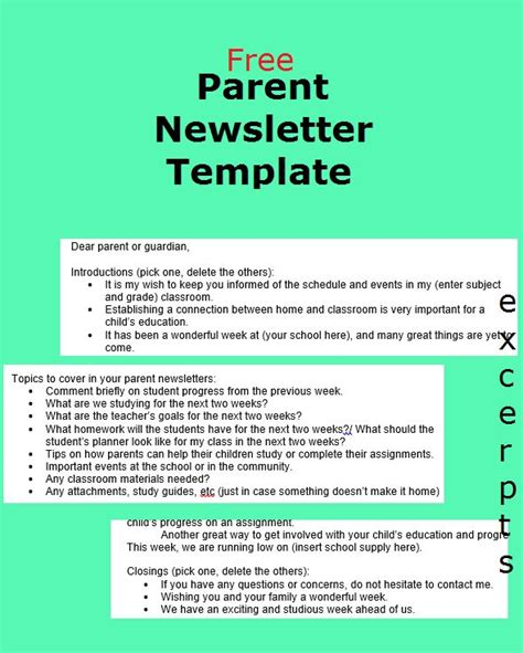 jessdiscover parent newsletter template  manage