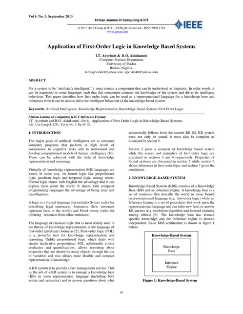 (PDF) Application of First-Order Logic in Knowledge Based