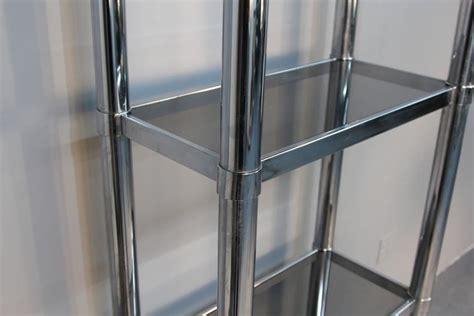 Chrome Tubular Étageré With Smoked Glass Shelves For Sale