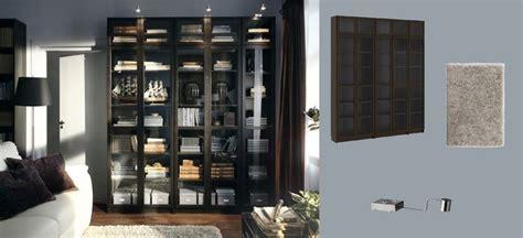 ikea billy vitrine billy biblioth 232 ques brun noir avec portes en verre tremp 233 et grundtal 233 clairage vitrine en acier