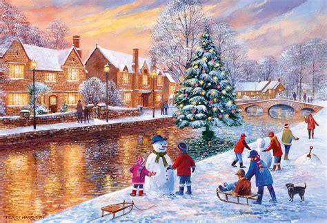 Thomas Kinkade Christmas Tree Village by Gibsons Bourton At Christmas Jigsaw Puzzle 500 Pieces Pdk
