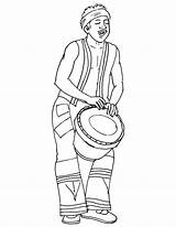 African Coloring Culture Drum Playing Musician Template Djembe Colouring Activities Printable Getcolorings Crafts Templates Arts Diy sketch template