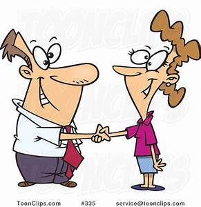 Cartoon Business Man Shaking Hands with a Business Woman ...