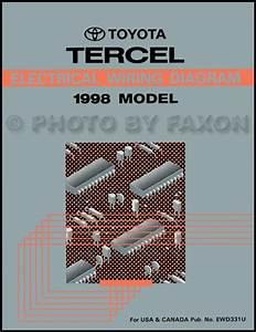 1988 Toyota Tercel Sedan Wiring Diagram Manual Original