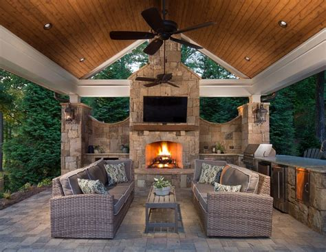 Outdoor Entertainment Area Patio Traditional With Stacked