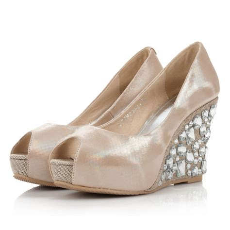 wedge heel rhinstone peep toes leatherette champagne