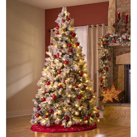 pre decorated trees walmart fairfax lighted decorated tree with flocking 7