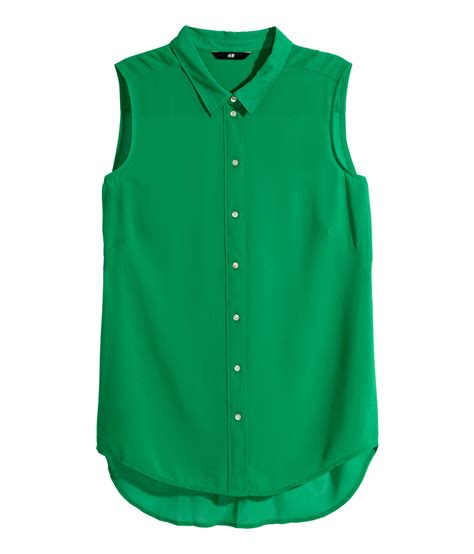 h m blouses h m sleeveless blouse in green lyst