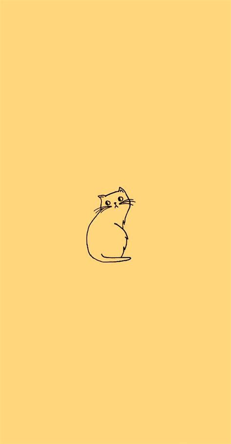 Aesthetic Cat Wallpaper Iphone by Cat Doodle Wallpaper In Sunflower Yellow Edit From