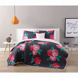 Vcny, Home, Charcoal, Rose, Rosemary, Floral, 3, 4, Piece, Quilt