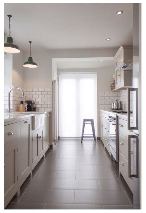 White And Gray Kitchen Subway Tiles, Shaker Cabinets, 12