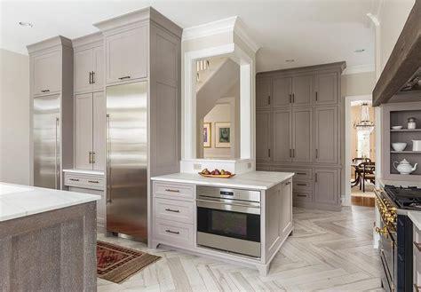 gray shaker cabinets   enclosed refrigerators