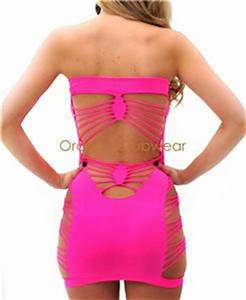 y Hot Neon Pink Seamless Strappy Spandex Cut Out Ripped
