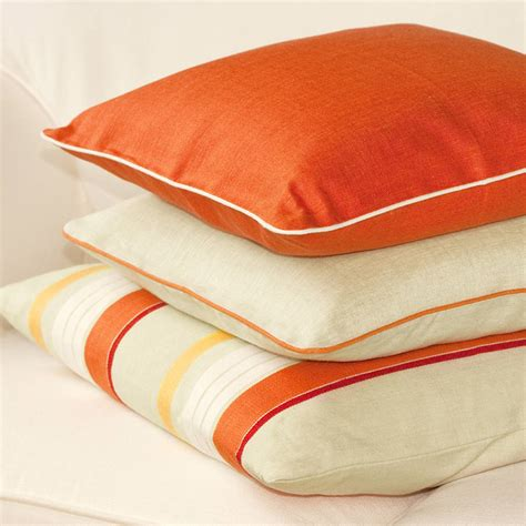 Orange Cusions by Orange Linen Cushion Cover With Piping By Jodie