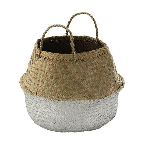 deco pour chambre ado garcon panier thaïlandais en fibre végétale argentée h 40 cm